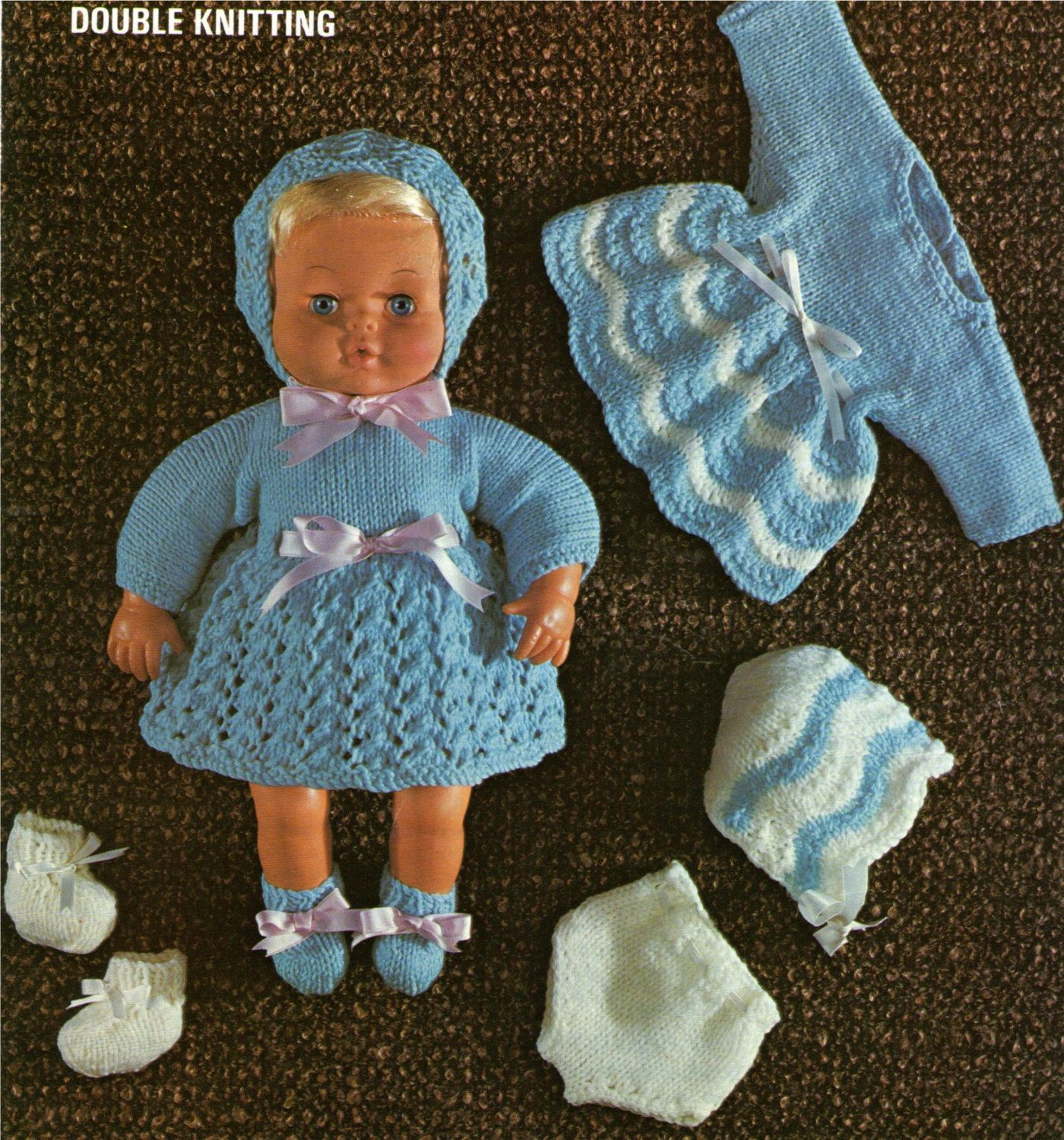 Dolls Clothes PDF Knitting Pattern : 15 inch baby dolly . Tiny Tears ...