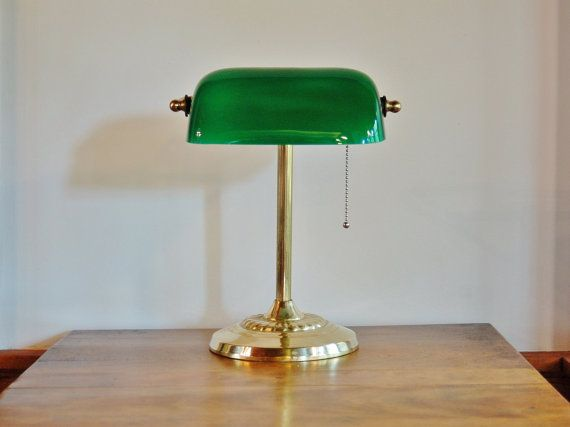 Bankers lamp brass and cased green glass lamp desk lamp with bankers lamp brass and cased green glass lamp desk lamp with emerald green shade vintage office piano task lamp library reading light audiocablefo