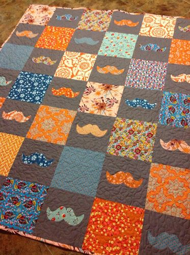 Modern Material Girl How Cute Is This Mustache Quilt Quilts