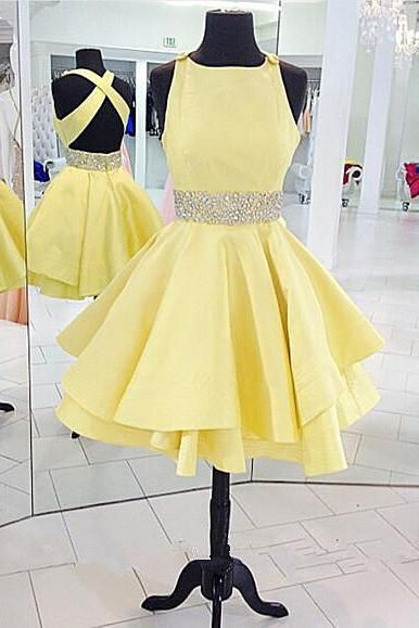c4d6b4f1ca23 Yellow Cross Back Homecoming Dress Short Cute Party Dress With Beading