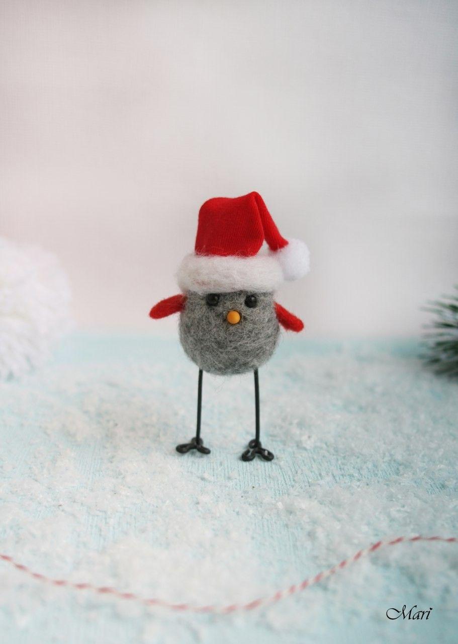 felt bird in santa hat #feltcreations