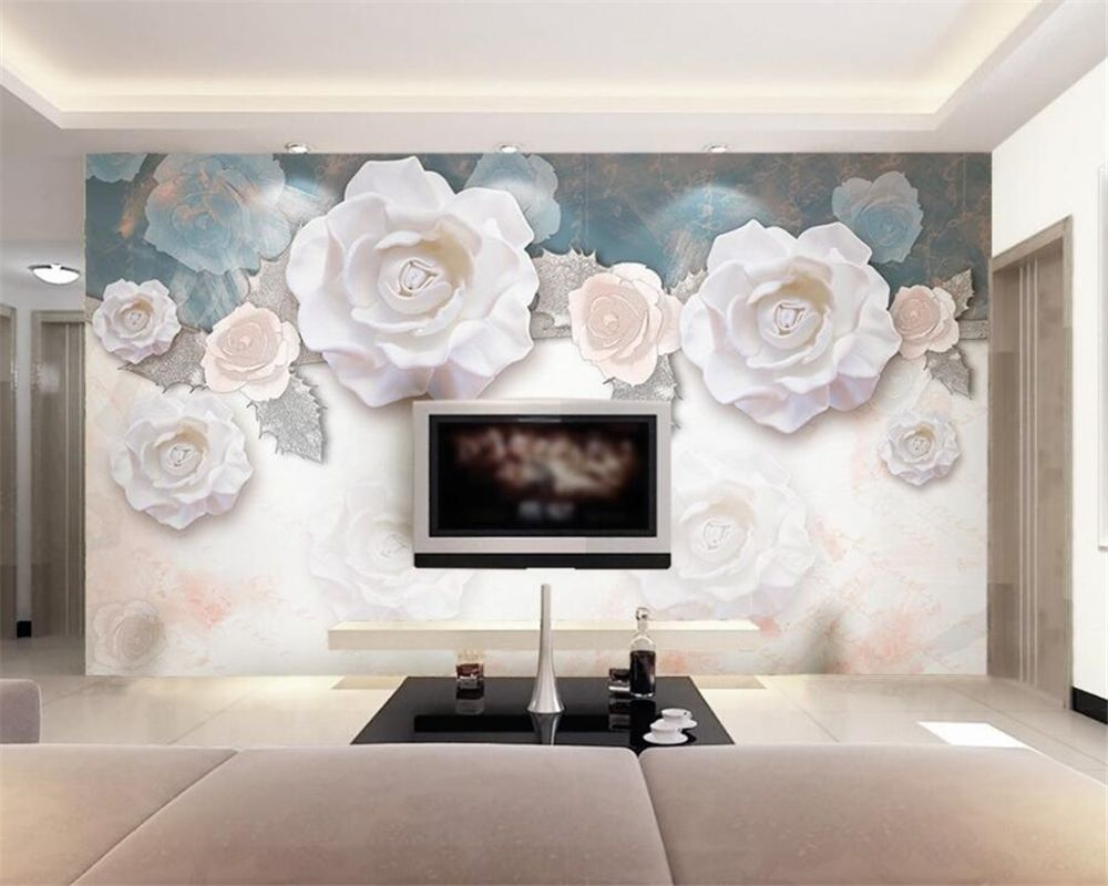 Decoration 3d Murale 3d Wallpaper Custom Photo Mural Fashion 3d White Rose Flower