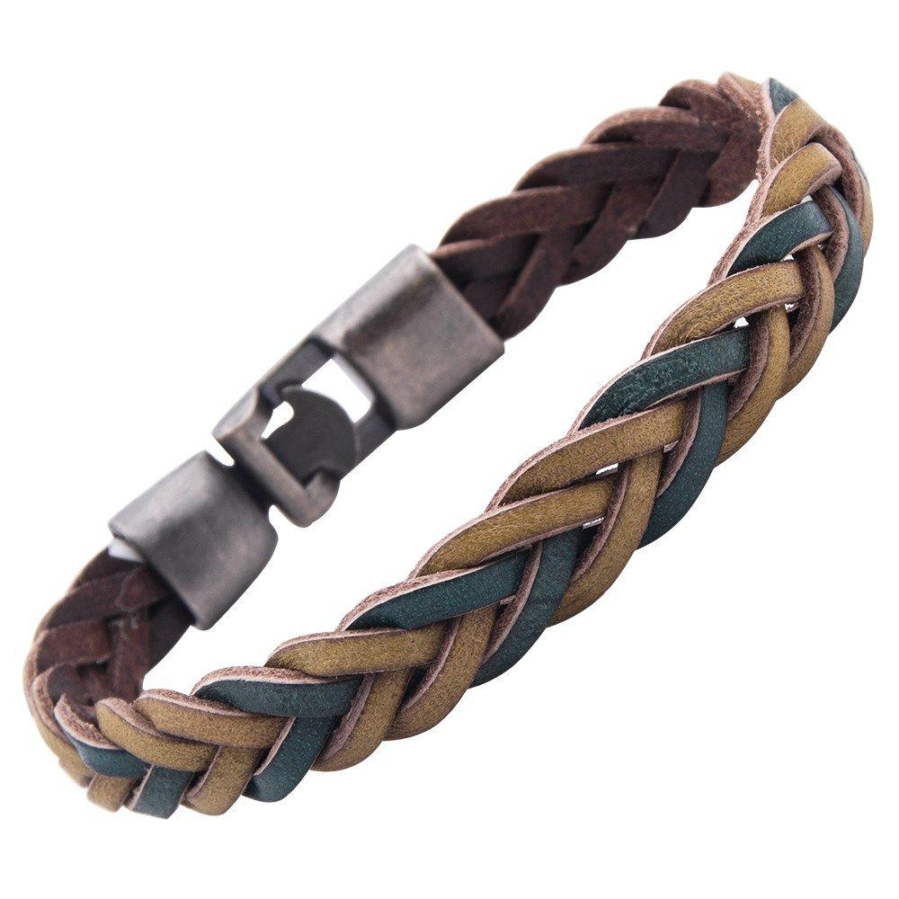 Impressive Vintage Braided Leather Cuff Bracelet For Men Camel Brown Green