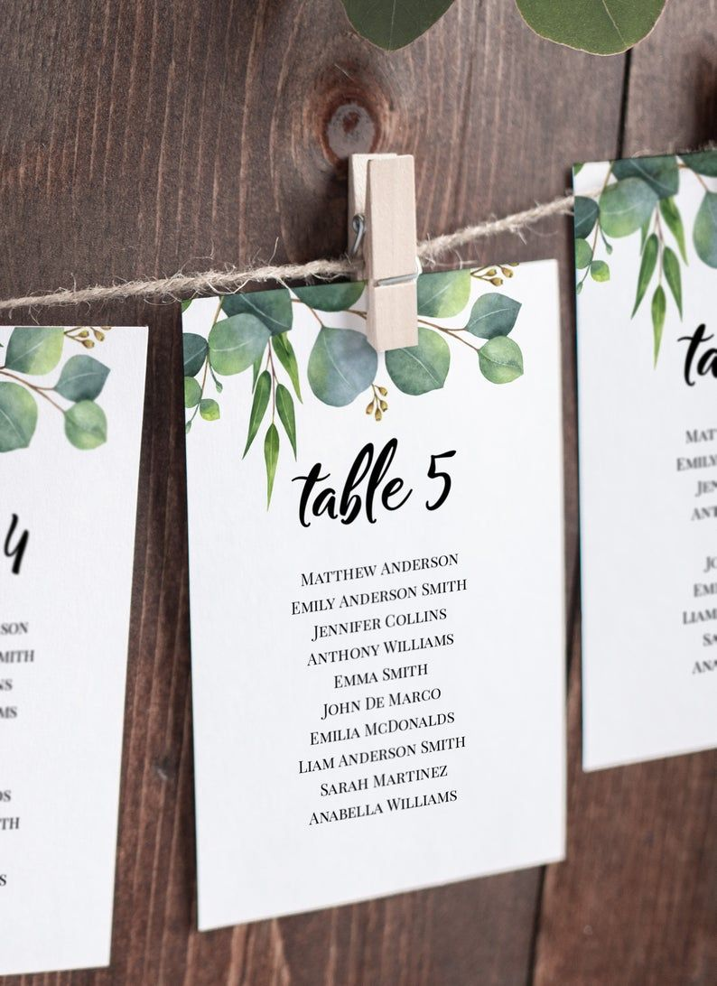 Seating Cards Template Wedding Seating Chart Eucalyptus Etsy Seating Chart Wedding Seating Chart Wedding Template Wedding Bar Sign