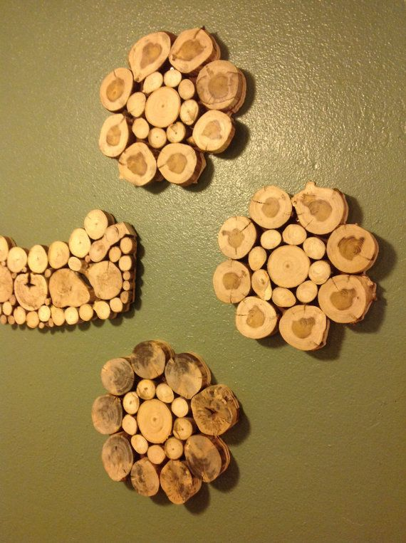 Modern Rustic Wood Slice Flower Wall Art Sculpture by KnottySlices ...