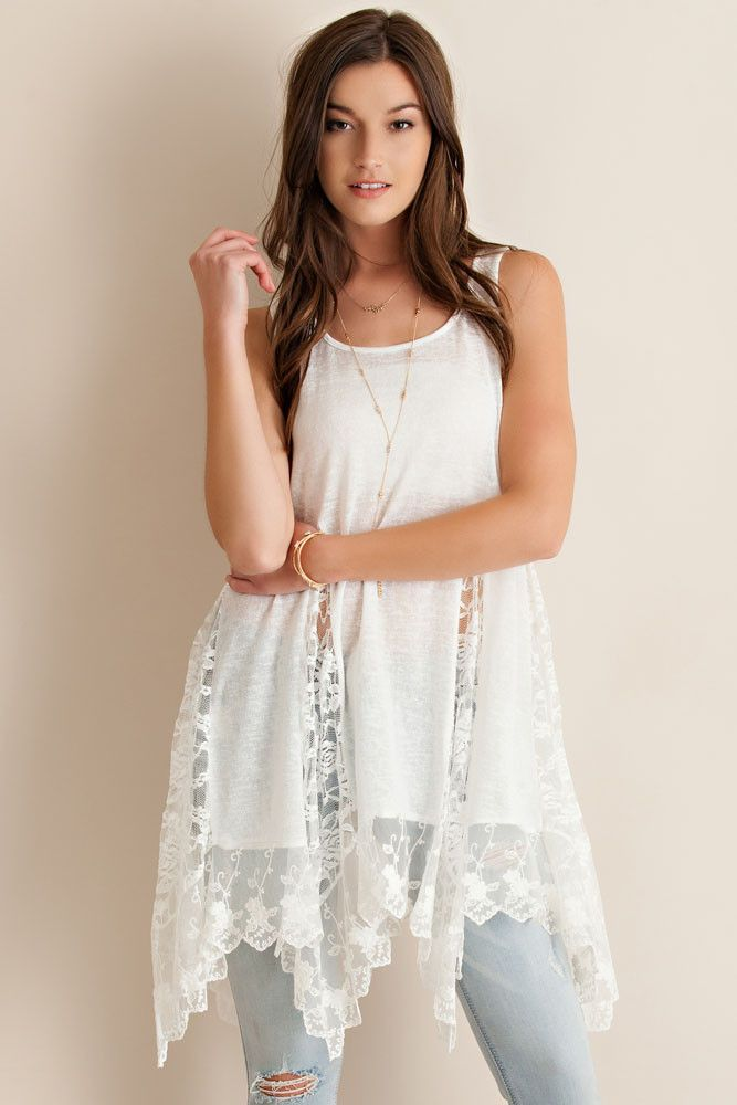 Lace Detail Tunic - Off White