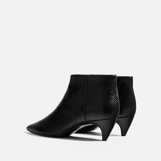 af607c6a7 Image 6 of EMBOSSED LEATHER LOW HEEL ANKLE BOOTS from Zara ...