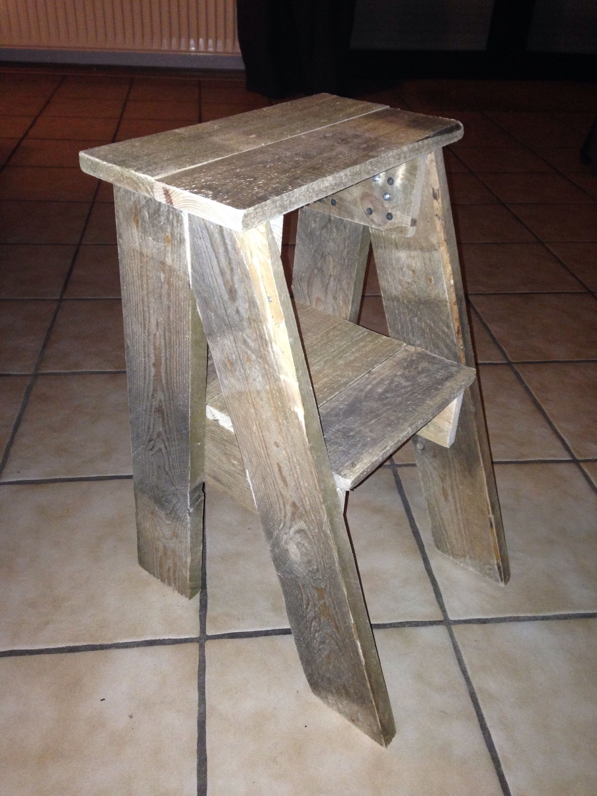 Wooden Step Stool Bedside: Step Stool Bedside Table From Pallet Wood. Basically, Ana