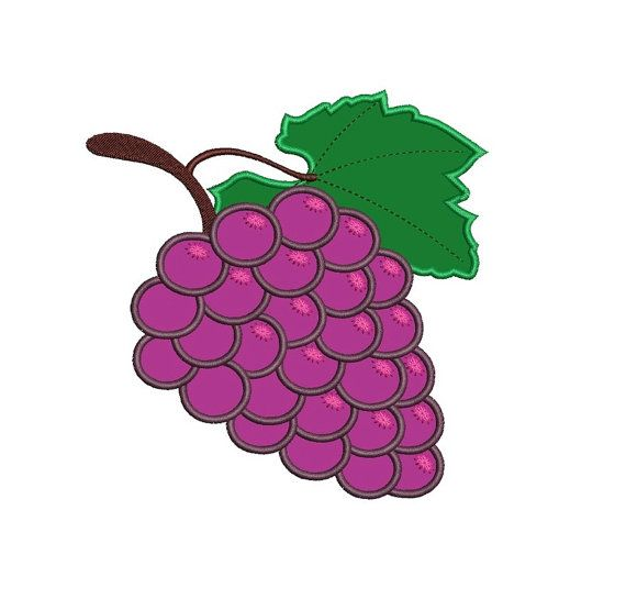 Grapes Applique Machine Embroidery Design by EmbroideryMonkey
