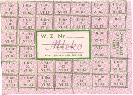 Kartka Na Mleko Polish Milk Ration Stamp From 1981 1983 Food