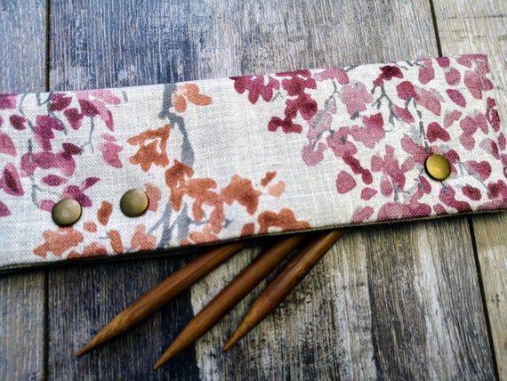 AUTUMN TREE LINEN Dpn Cosy Dpn Holder Socks Knitting ...