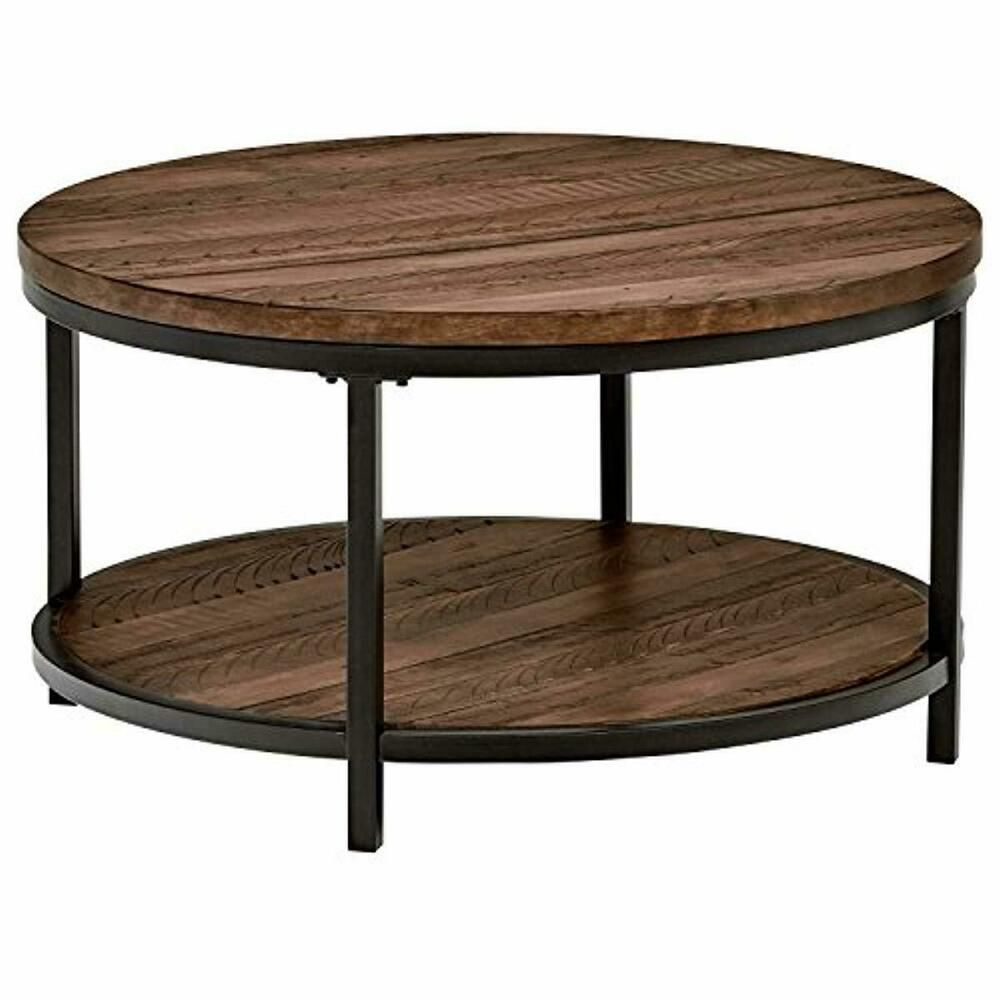 Stone & Beam Larson Industrial Wood & Metal Round Coffee ...