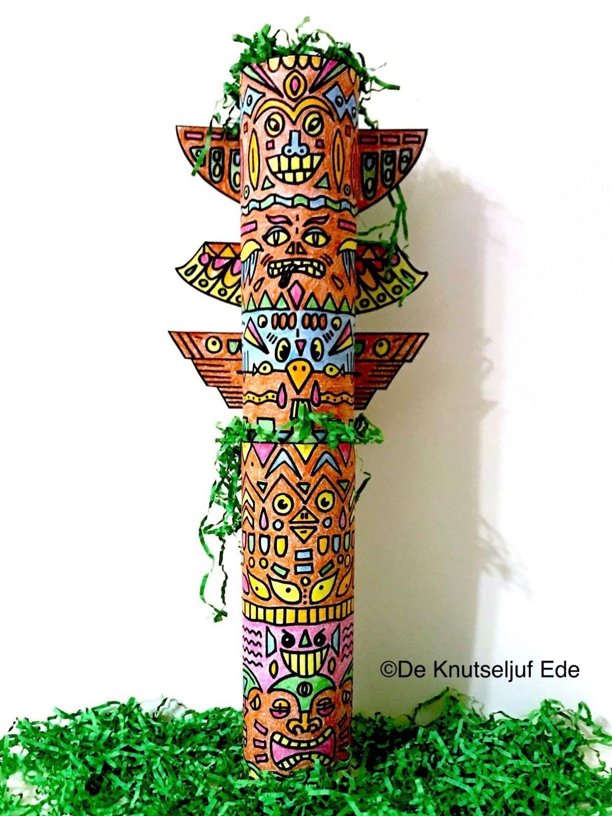 Indianen Totempaal Knutselen Met Printables Indianen Knutselen Creatief Kleurplaten Deknutseljuf De Knuts Totempaal Knutselen Knutselen Bovenbouw