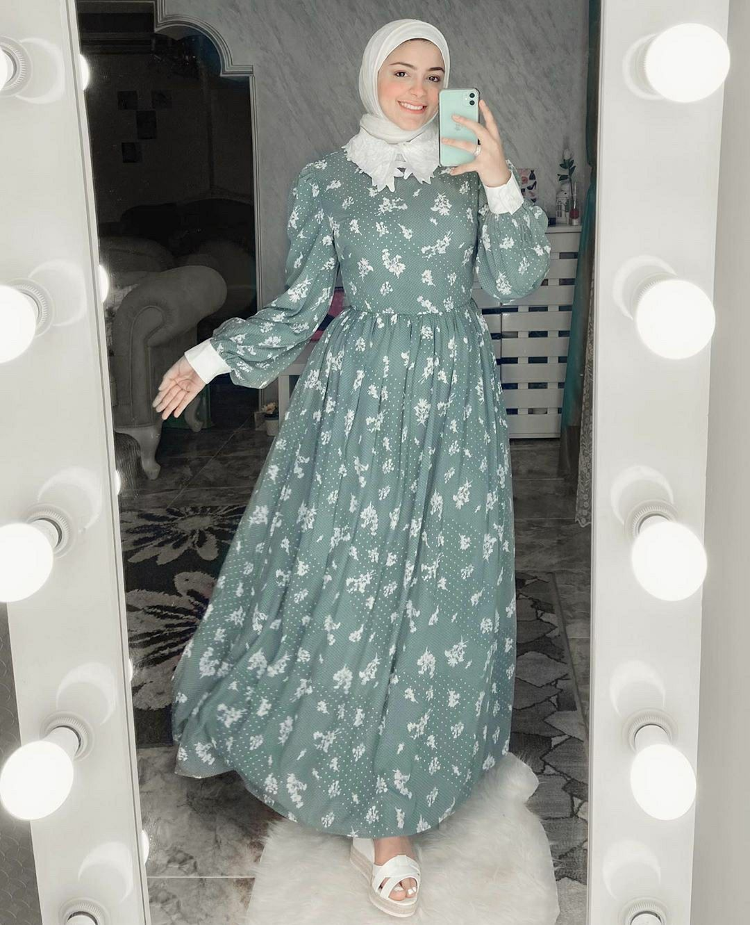 Floral Dot Print Contrast Collar A Line Dress Hijab Outfits Muslim Fashion Outfits Muslim Fashion Dress Muslimah Fashion Outfits