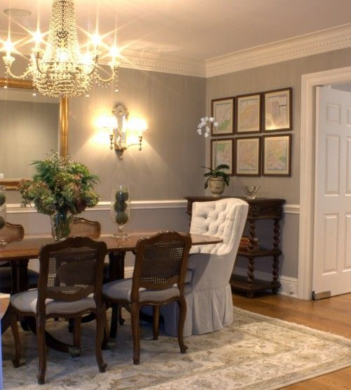 Paint Same Color Above/below Chair Rail · Gray Dining RoomsDining Room ...