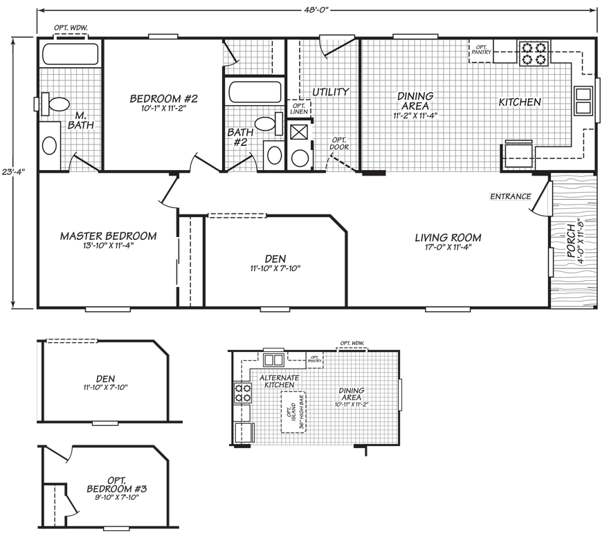 Oakridge 24 X 48 1074 Sqft Mobile Home Factory Expo Home Centers Floor Plans House Blueprints Home Center