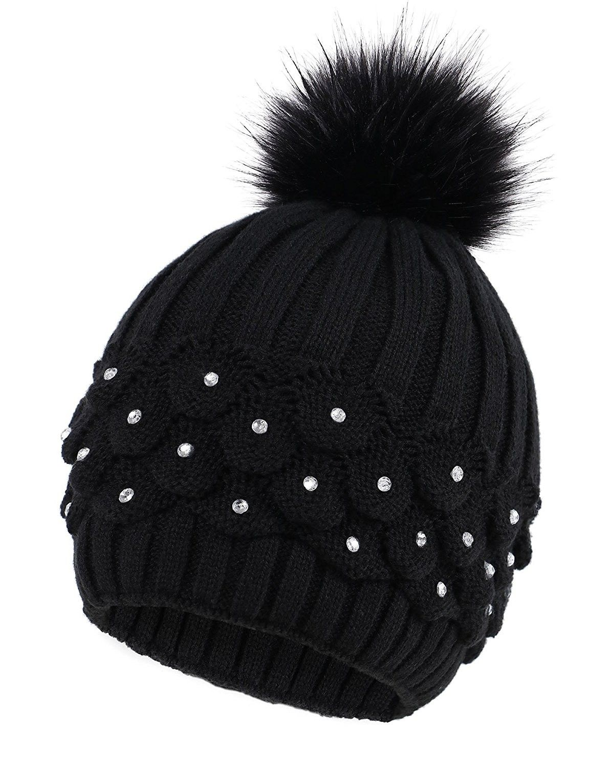 ccab9874e2e Paw Cable Knit Beanie with Sequins and Faux Fur Pompom - Black -  CI185LZO3Y3 - Hats   Caps