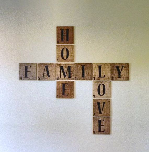 Azulejo de madera scrabble casa familia amor words - Scrabble decoracion ...