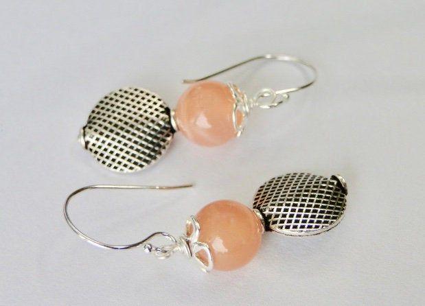 Dangle Earrings Sterling Silver Creamsicle Orange Moonstone Earrings Women's Earrings Handmade Natural Drop Earrings Sterling Ball Ear Wires