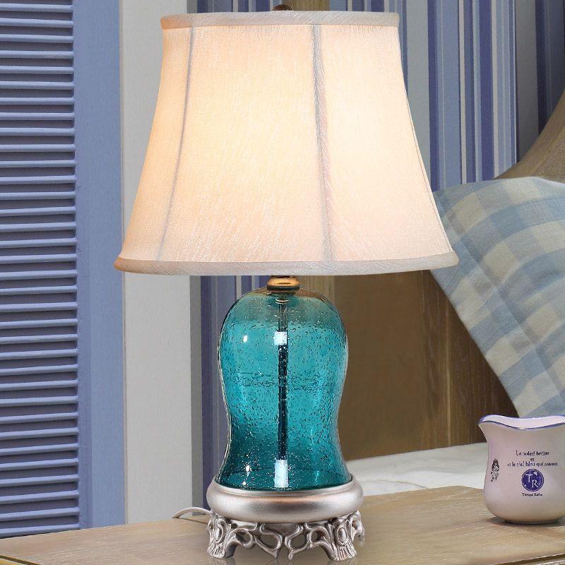 Luxury 56cm High Blue Bubble Glass Table Lamp 110v 220v
