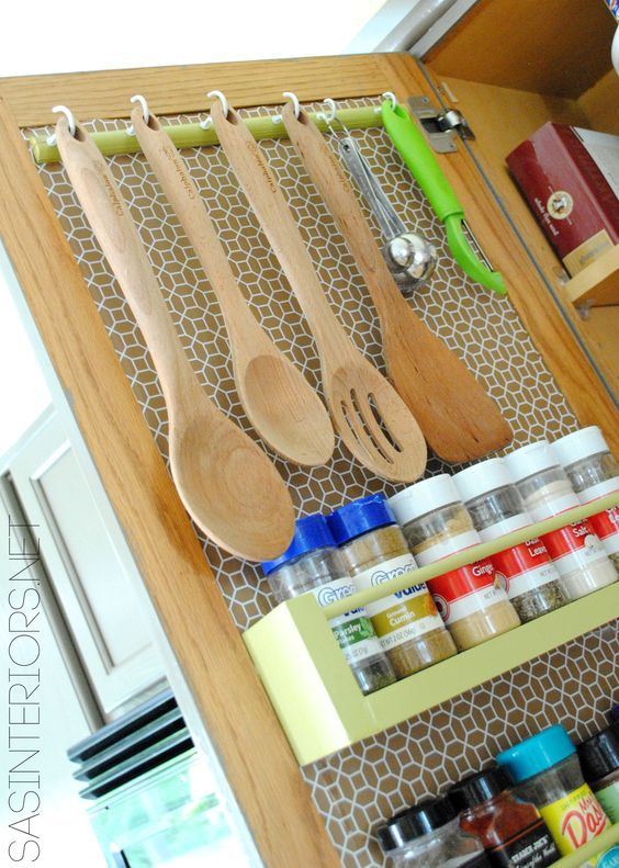 Kitchen Organization: Ideas for storage on the inside of the kitchen cabinets by @Jenna_Burger, www.sasinteriors.net: