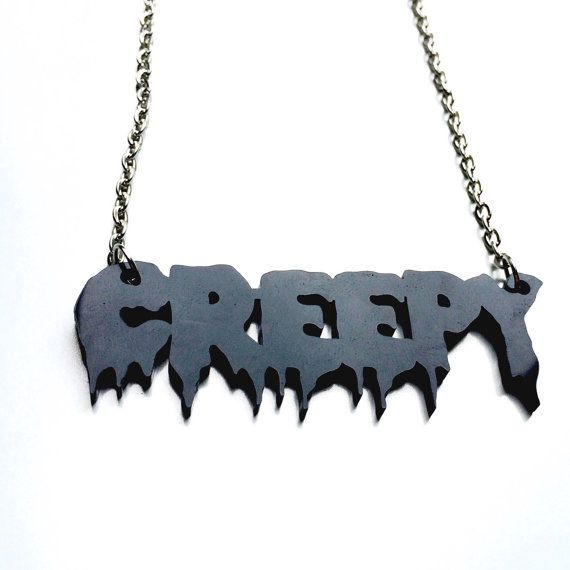 Creepy Necklace Drippy Goth Grunge Creep by Foxcultvintage
