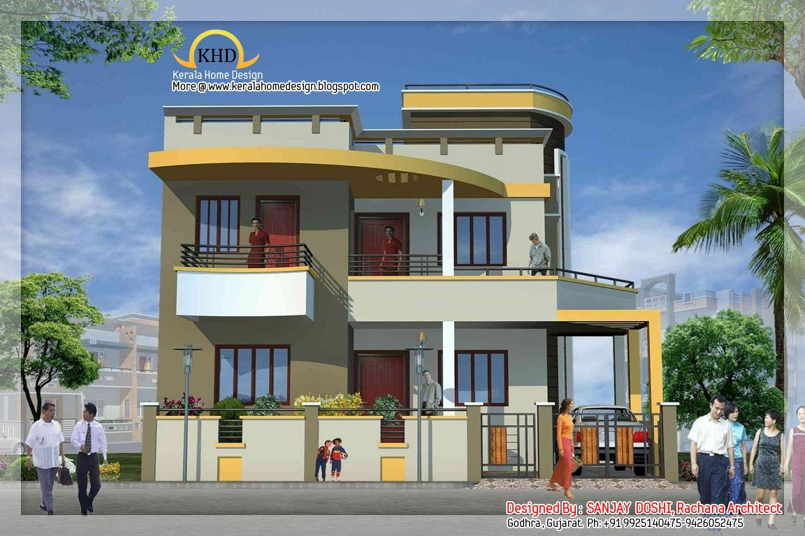 Duplex house design duplex house elevation projects to for Home exterior design india