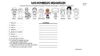 Spanish Ordinal Numbers / los numeros ordinales / worksheet ...