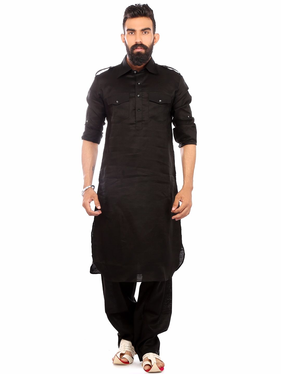 ae742efb58 Black Linen Festive Wear Solid Pathani Suit