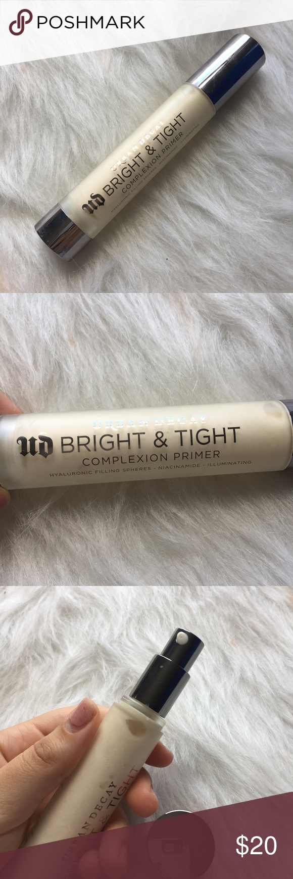 Urban Decay bright & tight complexion primer This primer has been used a couple of times.  Just looking to sell right now, so no trades. 🚫 I don't use any other sites to sell makeup. 🚫 I aim to ship same day. 📩 I always take the shipping price into consideration, please take the sellers fee into yours! 💸 Use the offer button, I might accept! I won't discuss prices in the comments & low ball offers will be ignored. 🗣 If you have any questions, please ask! 🙂 Urban Decay Makeup Face…