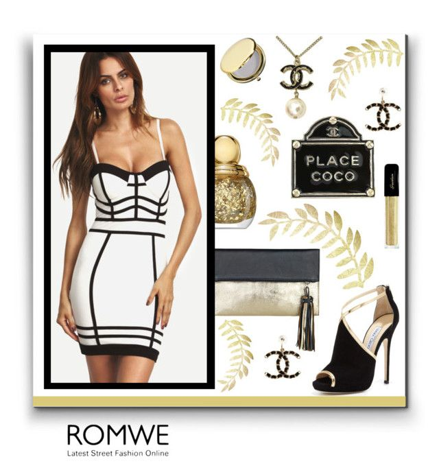 """""""The Coco Place - Romwe"""" by fcerqueira ❤ liked on Polyvore featuring Chanel, BeckSöndergaard, Jimmy Choo, Guerlain and Estée Lauder"""
