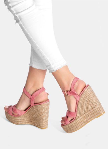Rozowe Koturny High Step Wedge Espadrille Shoes Espadrilles