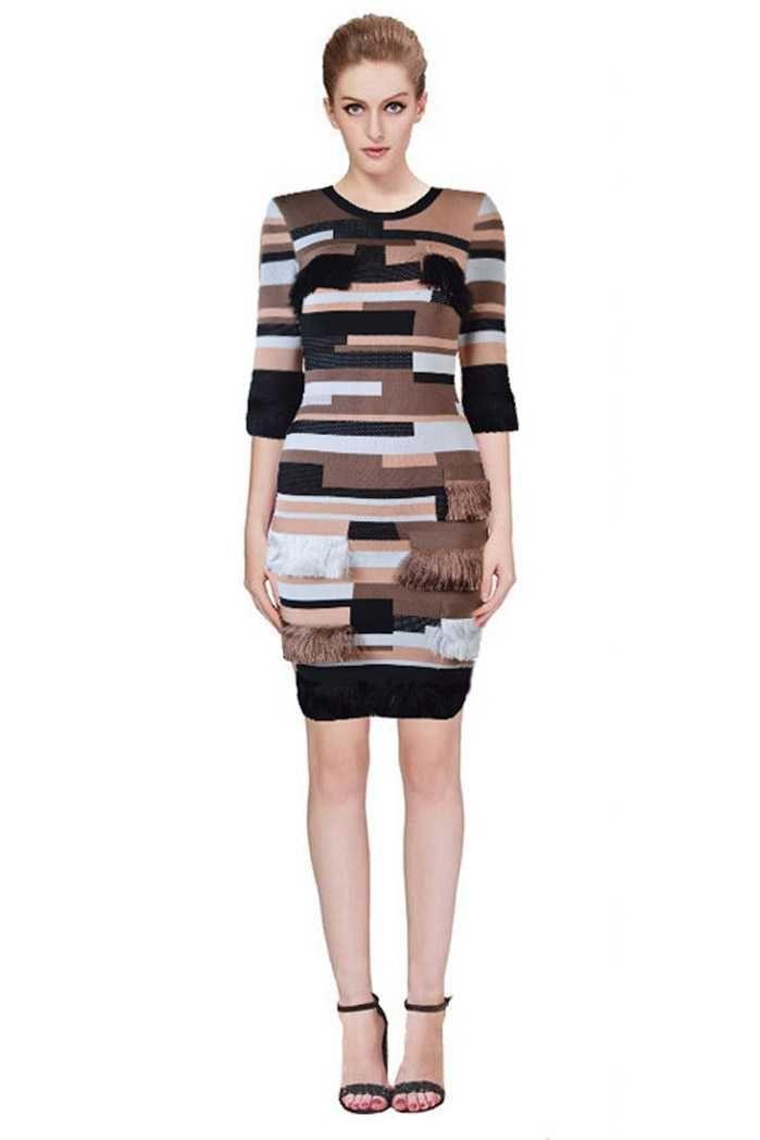 Herve Leger Coffee Stacked-Fringe Bandage Dress