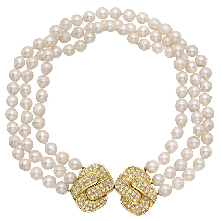 3dd4ff2221048 3-Strand Pearl Necklace with Diamond Gold Double Clasp | Beads ...