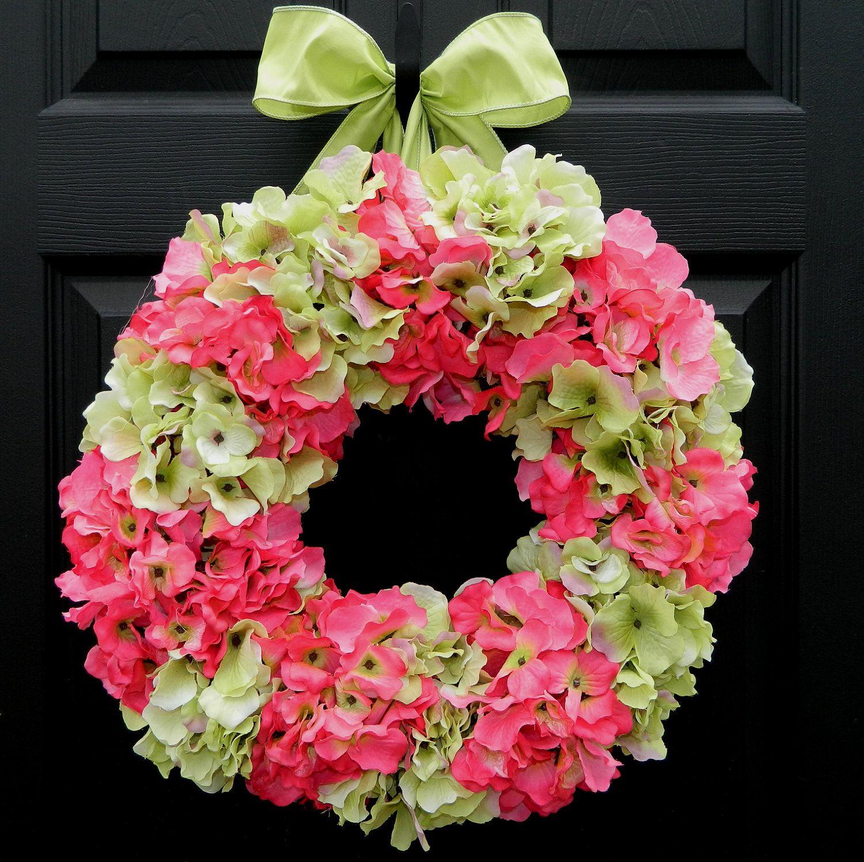 Spring Wreath - Summer Wreath - Hydrangea Wreath - Outdoor Wreath - Pink Wreath. $65.00, via Etsy.