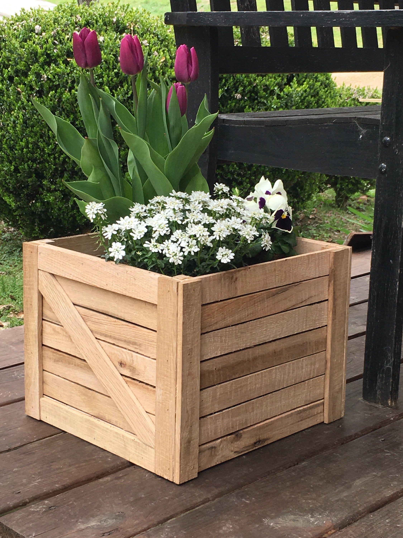 Planter Dans Une Caisse En Bois jardinière en bois chêne rustique boîte, jardinière carrée