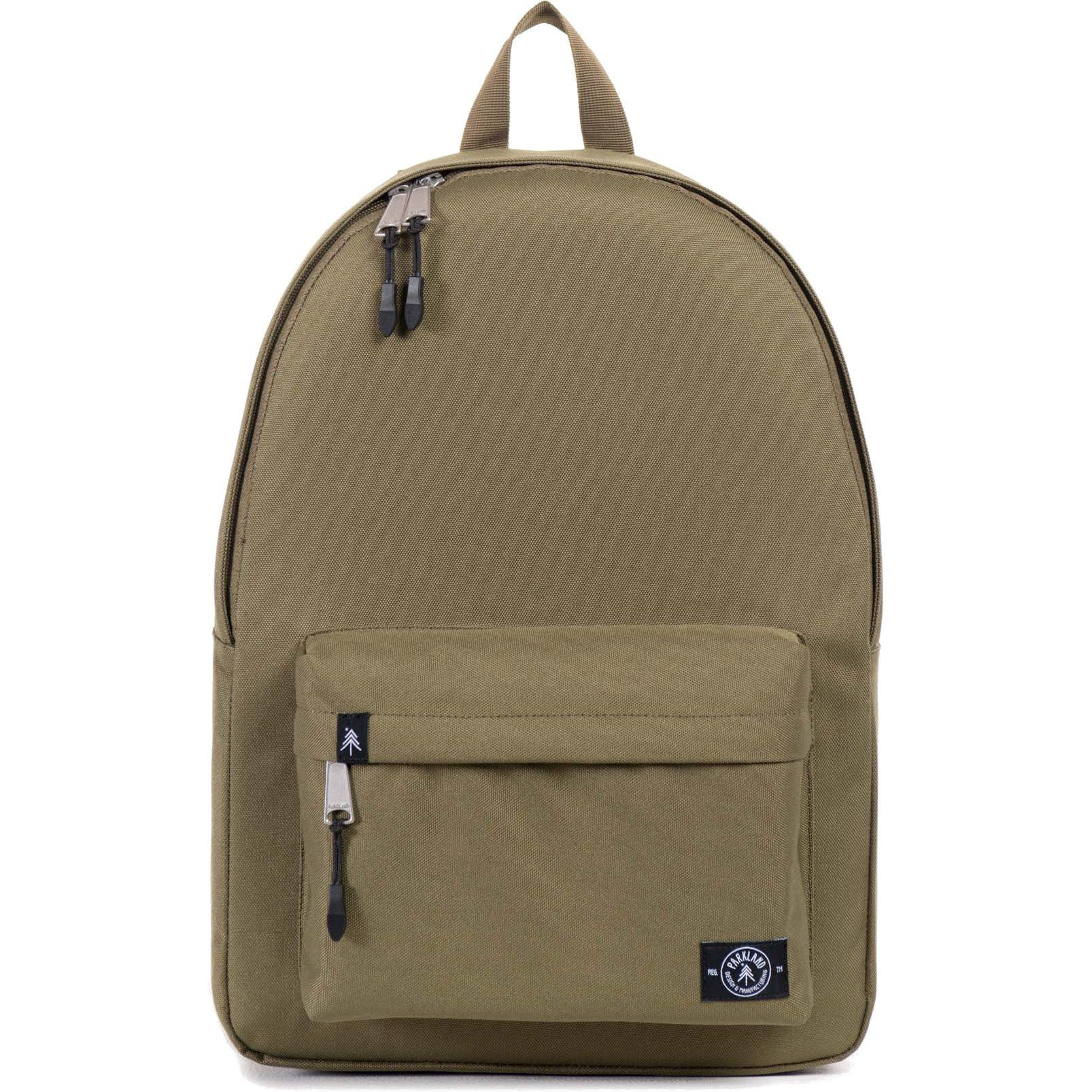 """Parkland The Vintage Backpack (Army). The Vintage Backpack is a perfect daytime companion. It's the ideal pack mule to take for a day hike, carryon or pack for work. 13"""" Laptop Sleeve & Classic Zipper Pull. Durable 600D Polyester Exterior & Heavy-Duty Webbing. Dimensions: 16.5""""(H) x 11.75""""(W) x 7""""(D); 25L."""