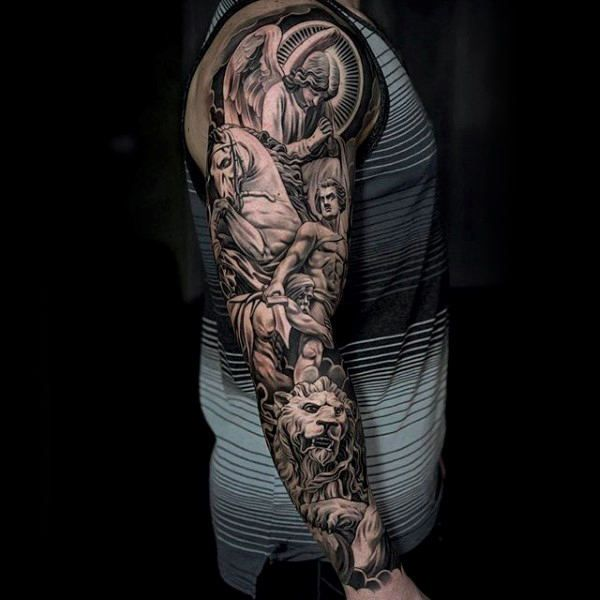 60 Lion Sleeve Tattoo Designs For Men Masculine Ideas Tattoo