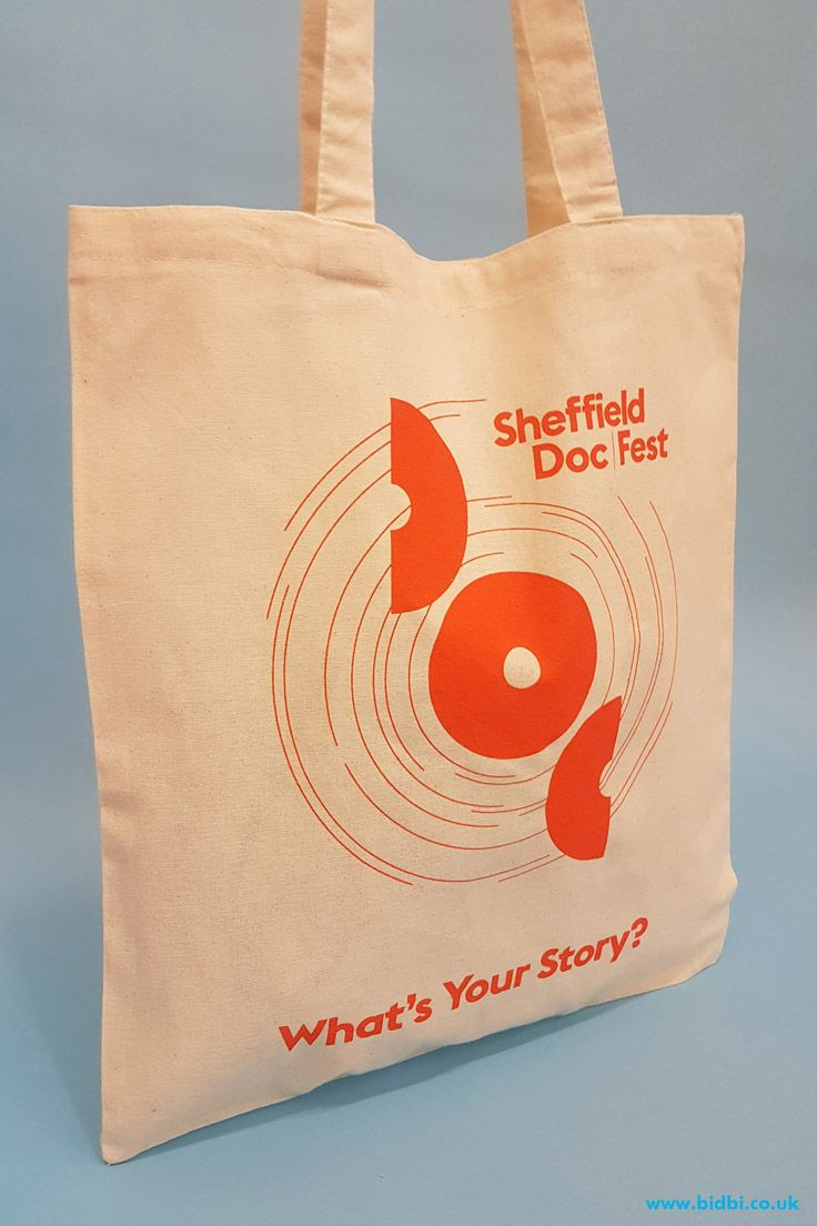 f0c410bc4 A simple promotional tote for Sheffield Doc Fest, who ordered a simple tote  as a giveaway and a more heavyweight offering that can be used for retail.