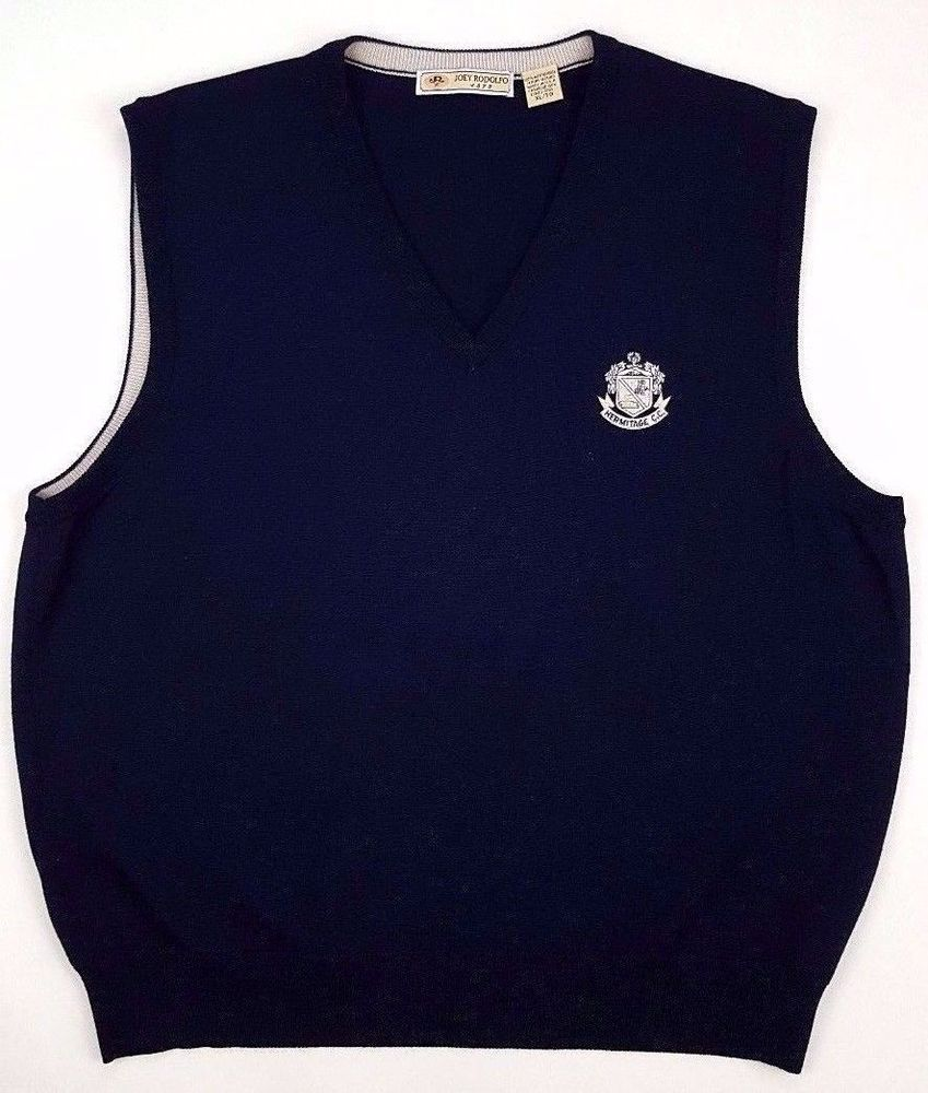 Details about JOEY Rodolfo XL Sweater VEST Merino WOOL Blue NAVY ...