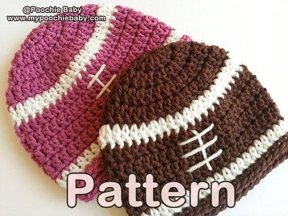 PATTERN Crochet Baby Football Beanie Hat by PoochieBaby | Handmade ...