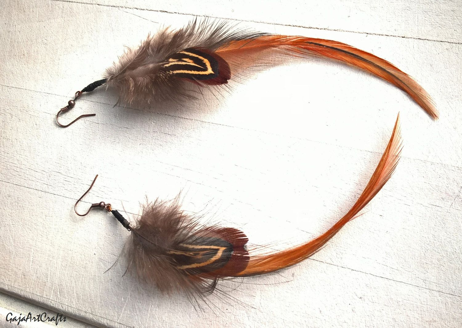Iridescent green tiny angel wings - orange-brown feather earrings, Natural feather earring, Boho and Hippie style earrings, Bohemian style by GajaArtCrafts on Etsy