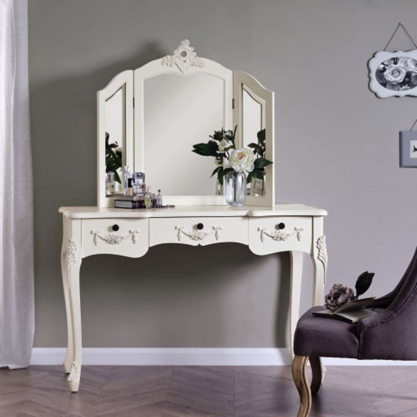 free shipping 2b902 710a3 Toulouse White Large Dressing Table and Mirror | Bedroom ...
