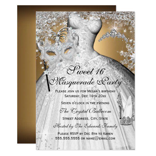 Silver Gold Princess Masquerade Sweet 16 Invite | Zazzle.com