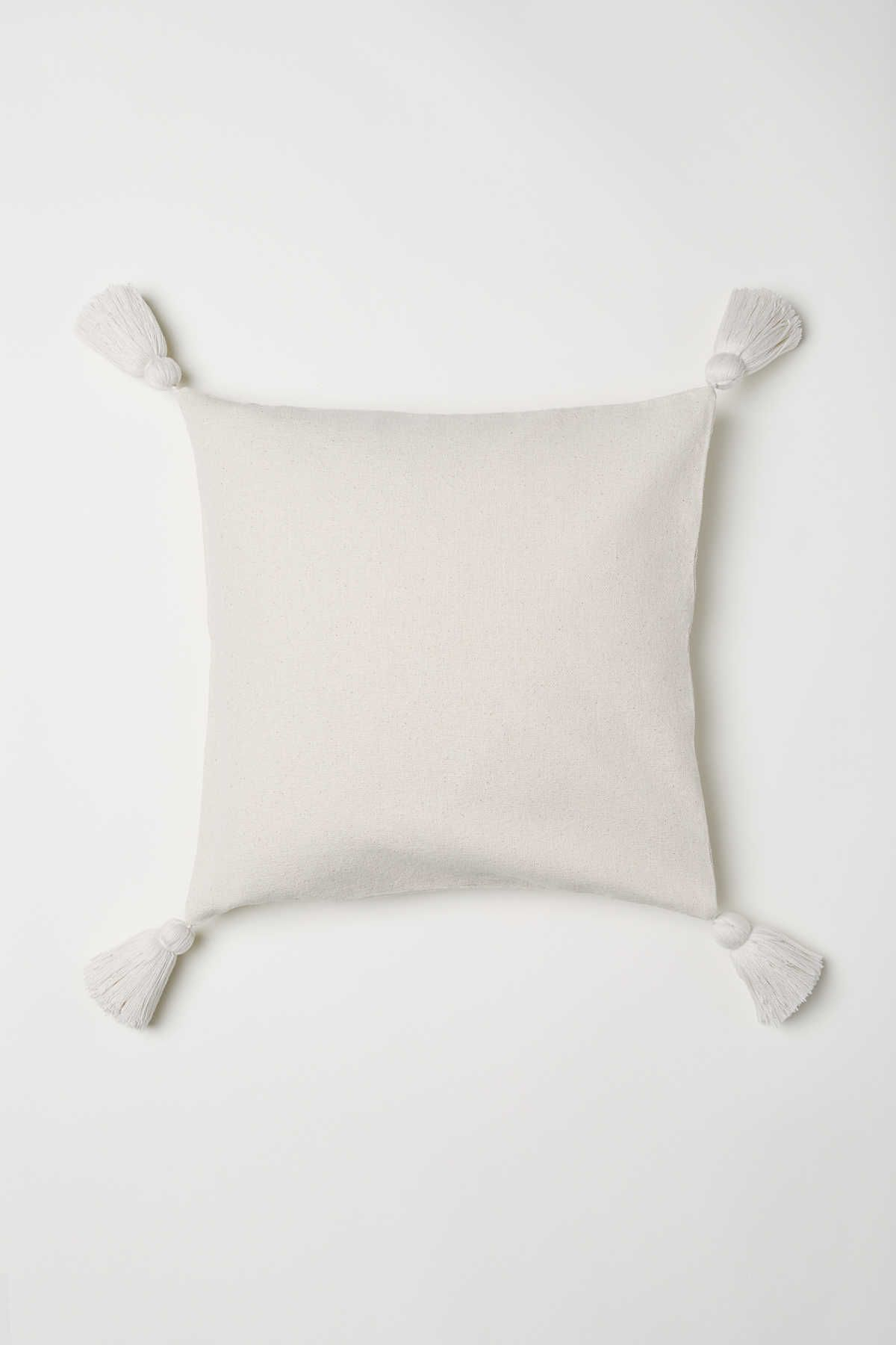 Cotton Canvas Cushion Cover With Tassels At Corners Concealed Zip