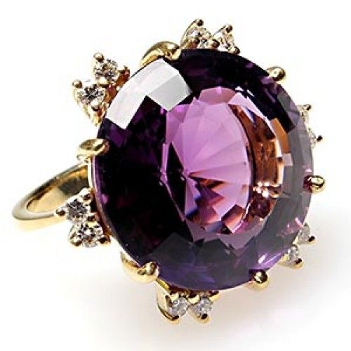 Rosamaria G Frangini | High Purple Jewellery | Vintage Estate Natural Amethyst & Diamond Cocktail Ring Solid 18K Gold