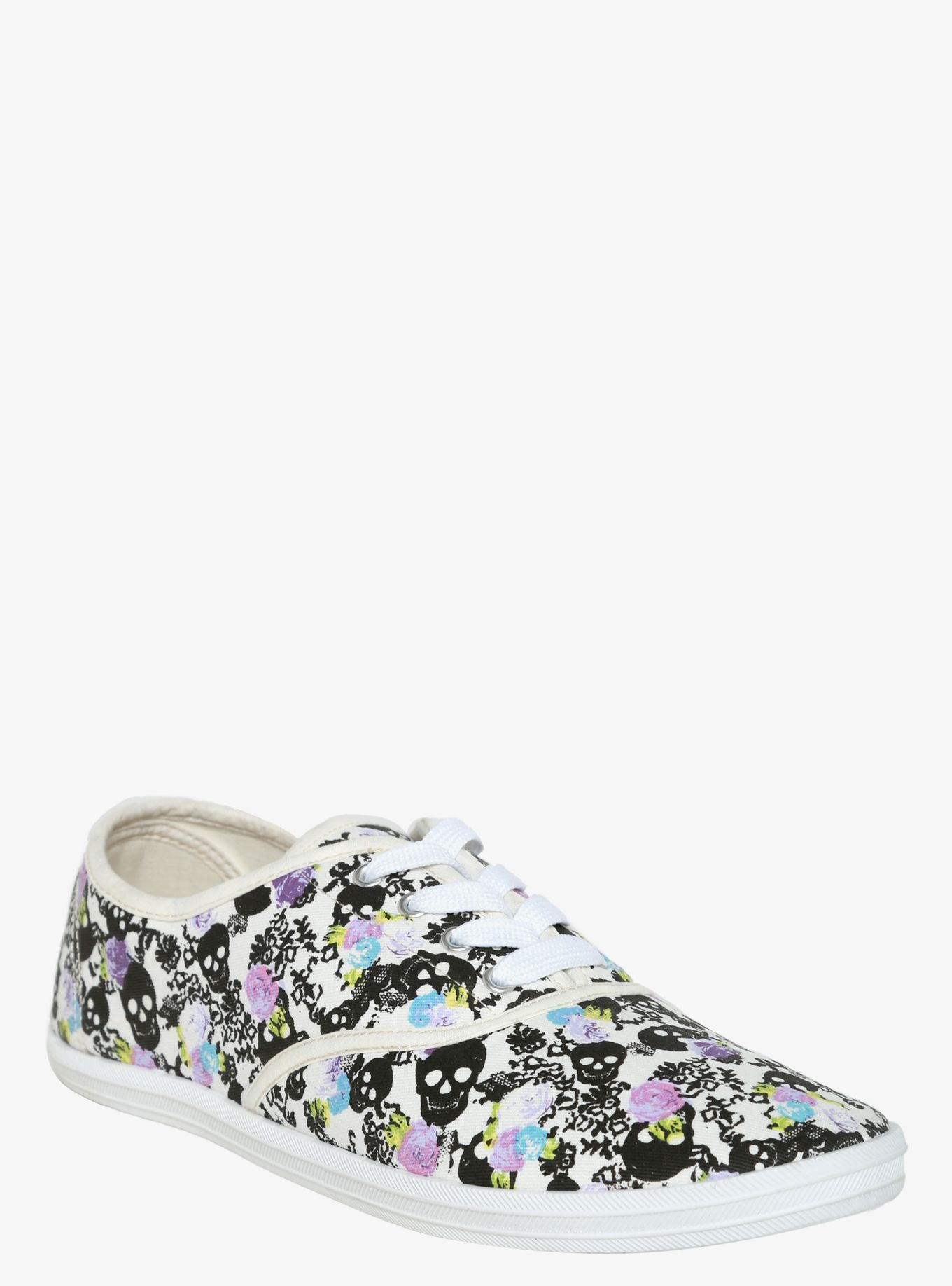 b666dca4ac0 Skull   Rose Print Lace-Up Sneakers (Wide Width)