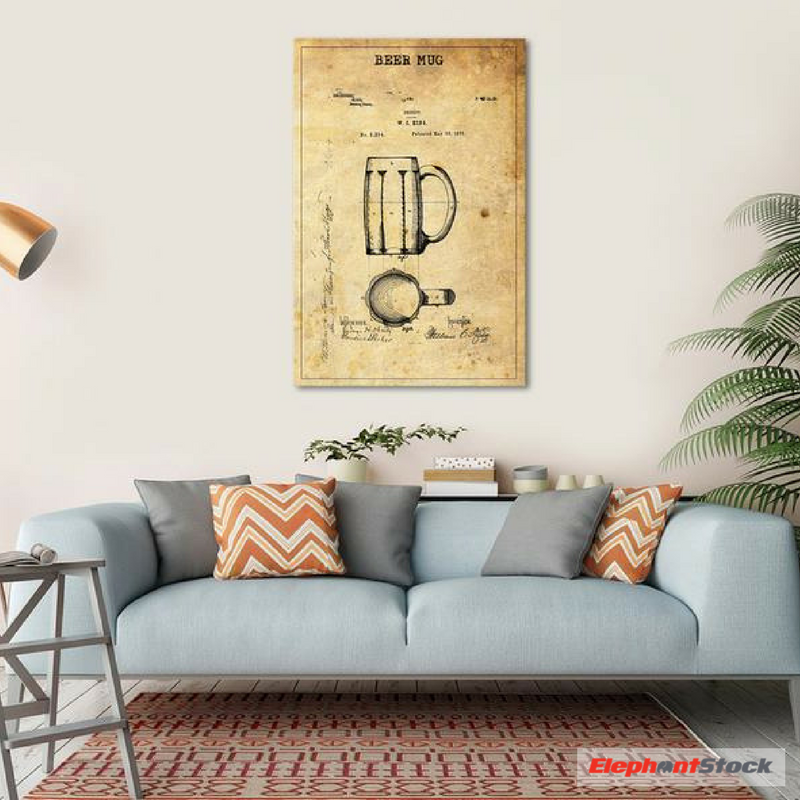 Beer Mug Patent Canvas Wall Art | Canvases, Walls and Modern