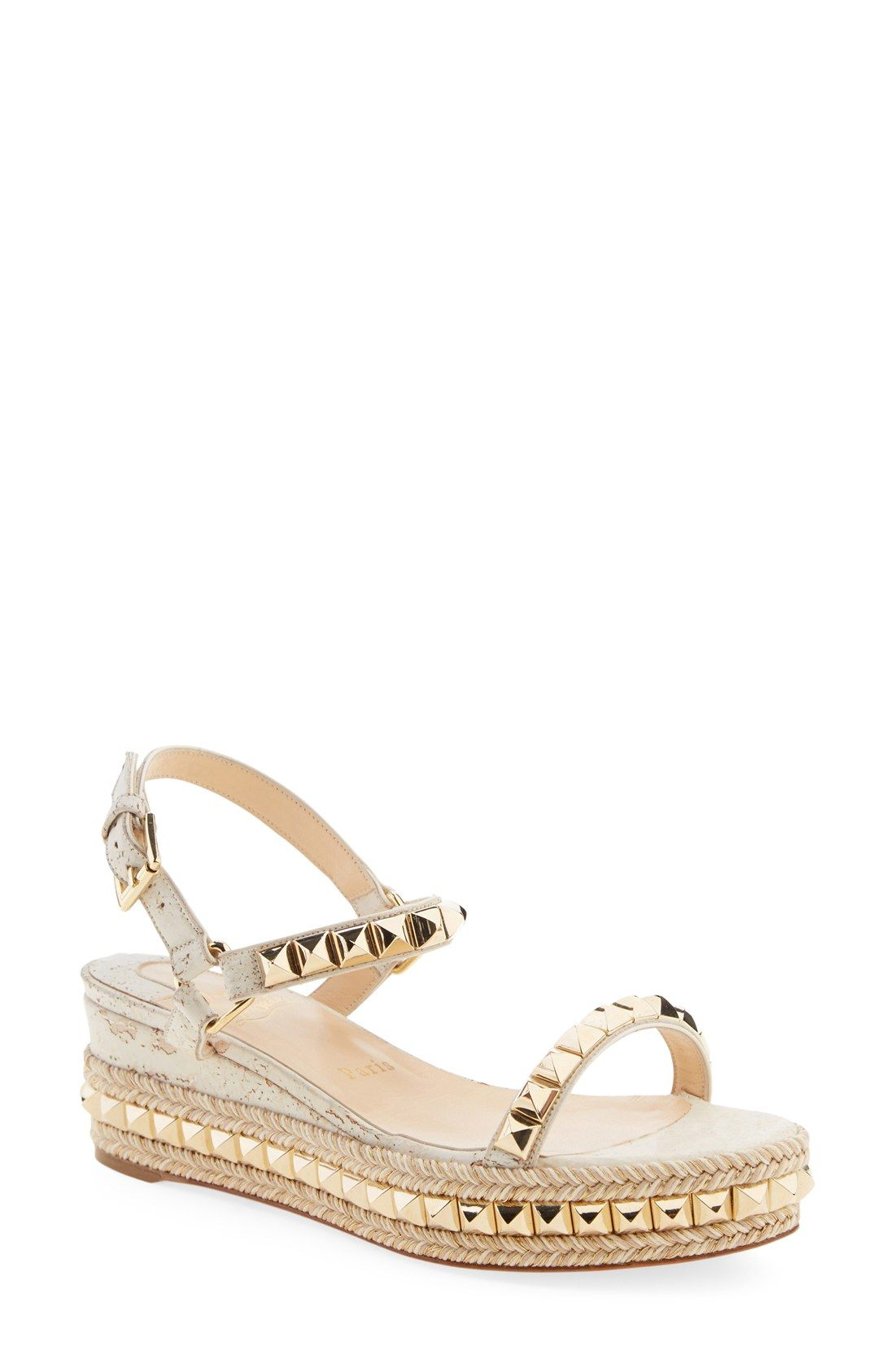 Christian Louboutin Metallic Espadrille Wedge Sandals sale big discount buy cheap wholesale price top quality sale online 6DO4YZEh8