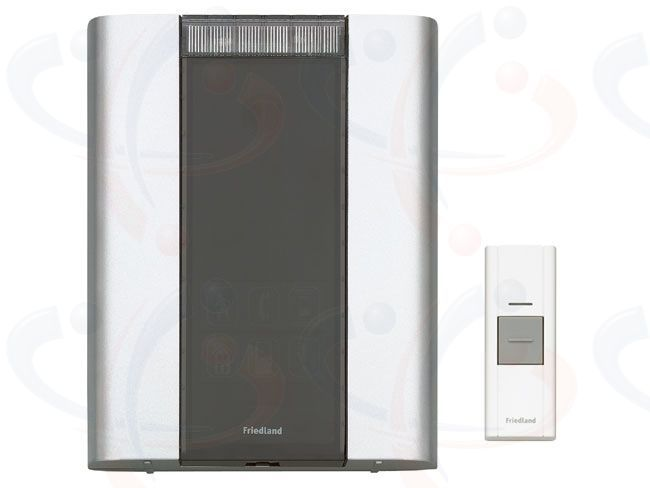 Friedland Libra+ Wireless 200m Portable Door Bell Chime Kit (D914)   The Friedland Libra+ Professional 200m Wireless Door Bell Chime Kit (D914) is portable for use throughout the home or can be wall mounted. The wireless Door Chime Unit operates up to 200 metres away from the Doorbell Push on the new 868Mhz frequency. The Door Chime is in a silver colour finish and the Doorbell Push is in white. Complete with 2 year warranty.